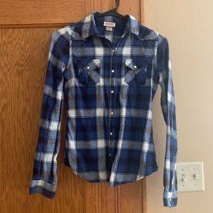Navy plaid snap up collar shirt